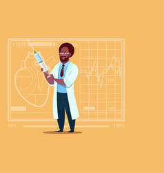african american doctor holding syringe medical vector image
