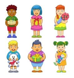 children celebrating vector image