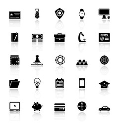 Businessman item icons with reflect on white vector