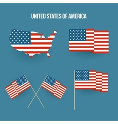 Set of american flag and map Flat design vector image