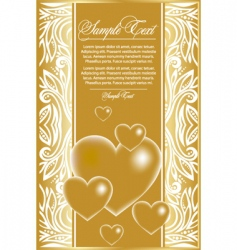 Abstract card with gold hearts vector