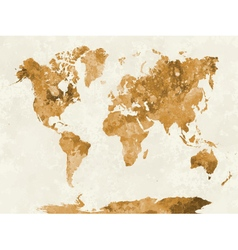 World map in watercolor orange vector
