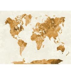 World map in watercolor orange vector image