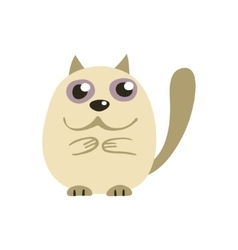 Cute white siamese cat vector