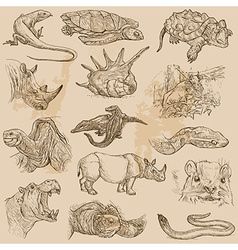 An hand drawn pack - animals vector