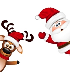 Funny santa and reindeer on white background vector