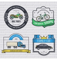 Transports set retro label template of emblem vector