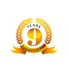 9 years ribbon anniversary vector image