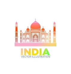 Taj mahal symbol design red color polygonal vector