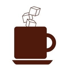 Coffee with sugar cubes isolated icon design vector