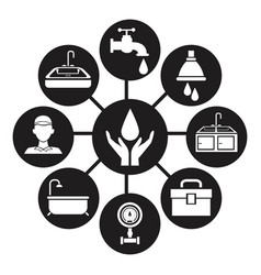 Black silhouette icons plumbing connected to vector
