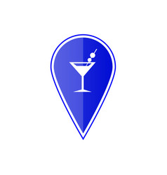 Blue map pointer with cocktail location vector
