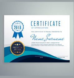 Blue wavy certificate design template vector