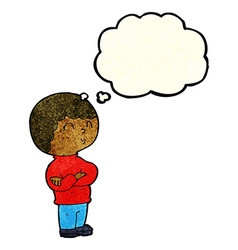 Cartoon boy with folded arms with thought bubble vector