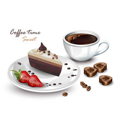 coffee cup and sweet cake slice realistic vector image vector image