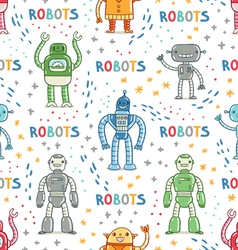 Colorful cartoon robots white background seamless vector image vector image