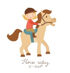 Cute little girl riding a horse vector image vector image