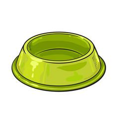 Empty green shiny plastic bowl for pet cat dog vector