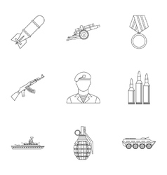 Equipment for war icons set outline style vector image vector image