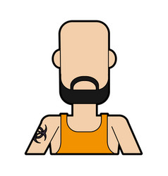 Faceless bald man with beard and tattoo on vector