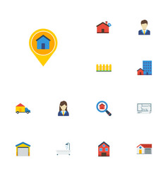 Flat icons depot hypothec buildings and other vector
