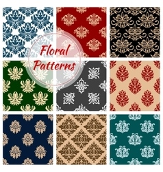 Floral ornate patterns set vector image