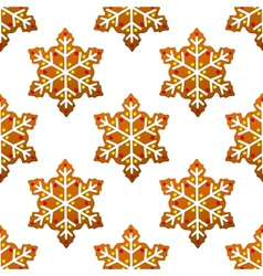 Gingerbread snowflakes seamless pattern vector image