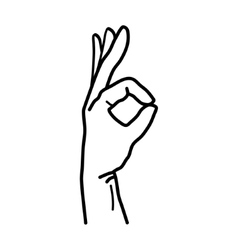 Hand OK Sign Isolated on White Background vector image
