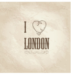 I love london lettering with floral heart shape vector