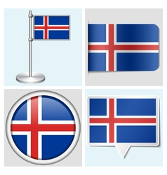 Iceland flag - sticker button label flagstaff vector image vector image