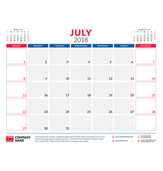 July 2018 calendar planner design template week vector