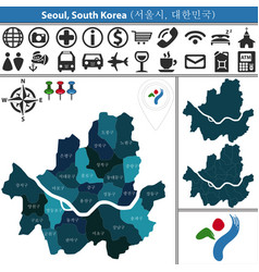 map of seoul with districts vector image