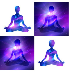 meditation on space background vector image vector image