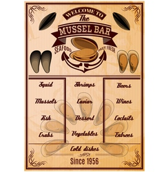 menu template with mussels for seafood restaurant vector image vector image