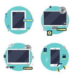 Modern technology laptop computer tablet vector