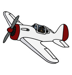 Old white propeller airplane vector