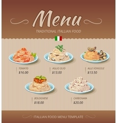 Pasta restaurant menu design template vector image