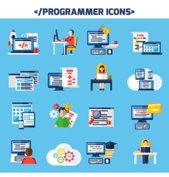 Programmer Flat Color Decorative Icons Set vector image vector image