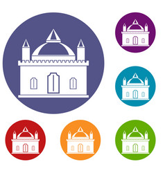 Royal castle icons set vector