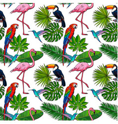 seamless pattern backdrop design of tropical palm vector image vector image