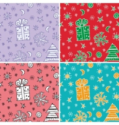 set seamless pattern new year symbol sketch vector image