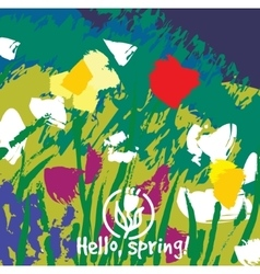 Spring color flowers abstract card vector image