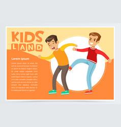 teen boy kicking classmate demonstration of vector image vector image