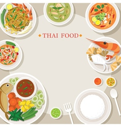 Thai food and cuisine frame vector