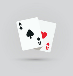 Two aces winning poker hand vector