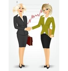 Two blonde businesswomen shaking hands vector