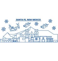 Usa new mexico santa fe winter city skyline vector