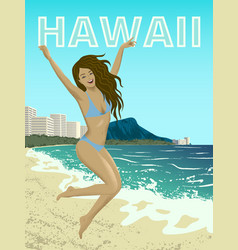 Waikiki beach of oahu island vector