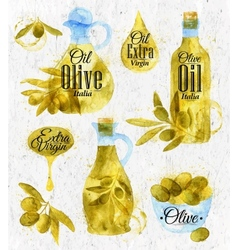 Watercolor drawn olive oil retro style vector