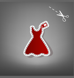 Woman dress sign with tag red icon with vector